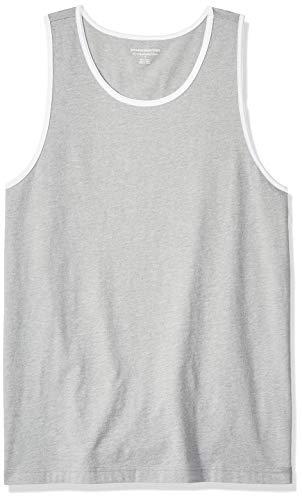 Amazon Essentials – Camiseta de tirantes de corte entallado para hombre, Gris jaspeado claro/ blanco, US L (EU L)