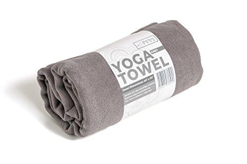 Blue Dove Yoga Toalla de yoga de microfibra de 182 cm de largo y 61 cm de ancho, antideslizante, ligera (gris)