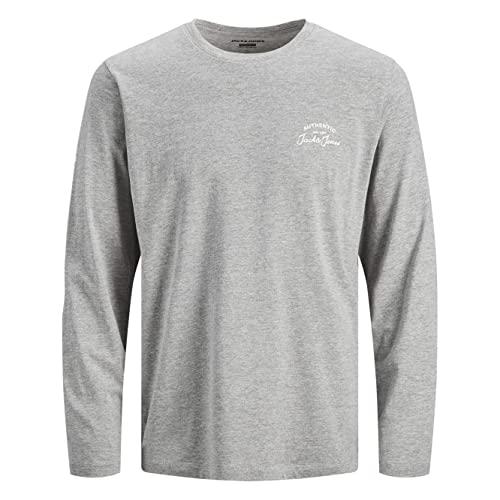 Jack & Jones JJHERO tee LS Crew Neck Camiseta, Gris, M para Hombre