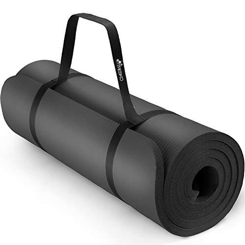 TRESKO® Esterilla de Fitness 185cm x 60cm para Gimnasia, Yoga, Pilates y Cualquier Tipo de Entrenamiento | 6 Colores | Sin ftalatos | Suave y cómoda | Espuma NBR (Negro, 185 x 60 x 1,0 cm)