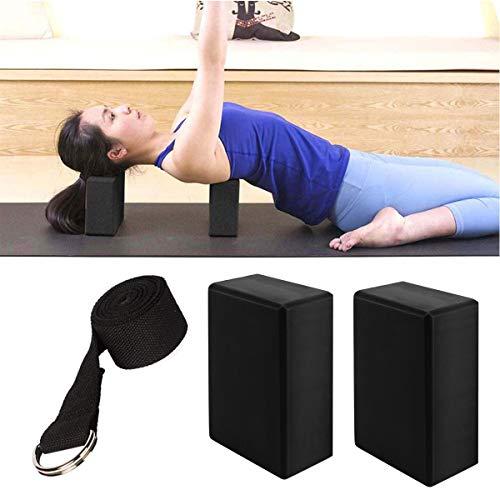 NOL Bloque de Espuma Correa, 3 Piezas Set de Yoga Bloques, Bloque de Yoga Ejercico EVA de Alta Densidad para Mejorar Fuerza y Flexibilidad Yoga Pilates Amantes