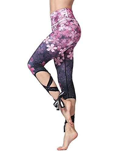 FLYILY Pantalón Deportivo de Mujer Cintura Alta Leggings Pantalones de Yoga Estampados