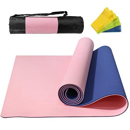 NAFFIC Esterilla Yoga, Alfombrilla de Yoga Texturizada Antideslizante 3*Banda de Resistencia,1* Correa de Transporte para Ejercicios para Yoga, Pilates y Ejercicios de Piso 183x61x0.6 cm (Rosa-Azul)