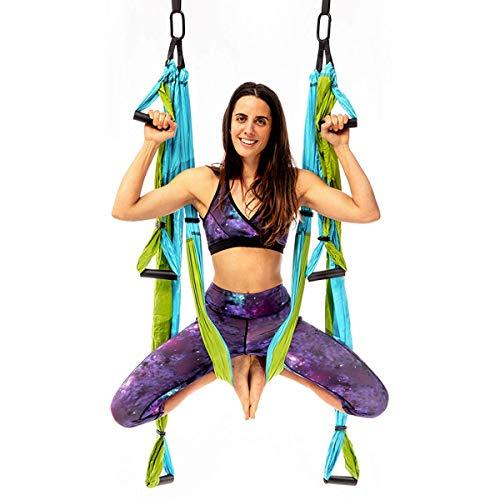 YOGABODY Yoga Trapeze (Oficial) con DVD, Color Azul/Turquesa - Yoga Aéreo