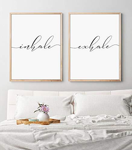 Laptopo Set of 2 Wood Framed Sign, Inhale Exhale Print, Inhale Exhale Master Bedroom Wall Decor, Black and White Prints, Yoga Print