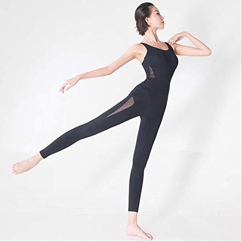 FGHSDRopa de Fitness Mujer Medias Deportivas Atractivas Mamelucos y Mono Gimnasio Correr Conjuntos de Yoga Mujeres Traje de Danza de Ballet de Malla Transpirable XL Negro