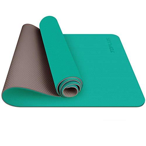 TOPLUS Esterilla Yoga Antideslizante Alfombrilla de Yoga Esterilla Pilates Esterilla Deporte- con Correa de Hombro 183cm x 61cm (Verde y Cafe)