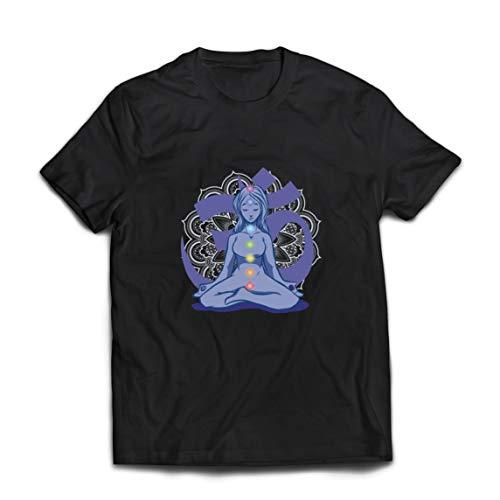 lepni.me Camisetas Hombre Yoga Meditación Namasté Asana Mandala Mente Cuerpo Alma (Large Negro Multicolor)