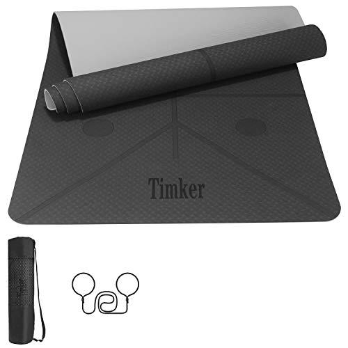 Timker Esterilla Yoga Colchoneta de Yoga Antideslizante Material ecológico TPE líneas corporales Yoga Mat diseñado con Correa de Hombro- 183cm x 61cm (Gris)