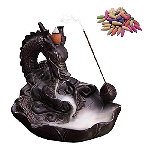 Quemador de Incienso de Reflujo Para el Hogar con Forma de Dragón con 10 Incienso, Quemador Incienso Dragón Humo Esmalte Cerámica Cono Reflujo Quemador Incienso