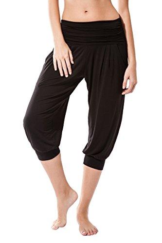 Sternitz Pantalon Fitness para Mujer, Rabi, Ideal para Hacer Pilates, Yoga y Cualquier Deporte, Tela de bambú, ecológica y Suave. Pantalón Tipo Pescador o Bombacho. Muy Cómodo (S, Negro)