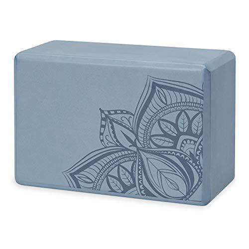 Gaiam - Bloque de yoga - Soporte de espuma EVA sin látex suave superficie antideslizante para yoga, pilates, meditación (punto de sombra azul), 05-63680