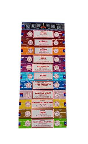 Satya Incienso Set 12 x 15 Gramos Incluye: Nag, Super Hit, Oodh, Vibos Positivos, Namaste, Champa, Opio, Reiki, Sanación Espiritual, Karma, Ayurveda Tradicional y meditación, Madera, Multi, Packs