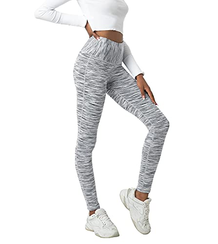 LAPASA Leggins Mujer Cintura Alta, Pantalón Deportivo Elástico, Mallas de Deporte Yoga, Leggings Largo Push Up L01A1 XS Blanco+Gris