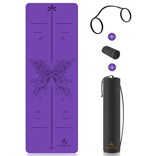 ACENDRATTI Esterilla Yoga TPE Premium + Toalla Microfibra + Funda + Correa de Hombro. 100% Eco-Friendly 183 x 61cm x 6mm Pilates Fitness, Patentado