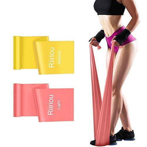 Bandas Elasticas Fitness, 2M Cintas Elásticas Bandas de Resistencia Ideales para Mujer y Hombre Pilates, Fisioterapia, Yoga Estiramientos, Musculacion, Piernas, Fuerza Entrenamiento (Pink_Orange)