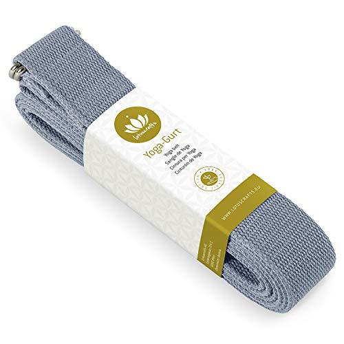 Lotuscrafts Yoga Cinturon Algodon - 100% Algodon (Cultivo Biológico) - Correa Yoga Algodon para Mejores Estiramientos - Cinturón de Yoga con Cierre de Metal - Yoga Strap Belt [250 x 3,8 cm]