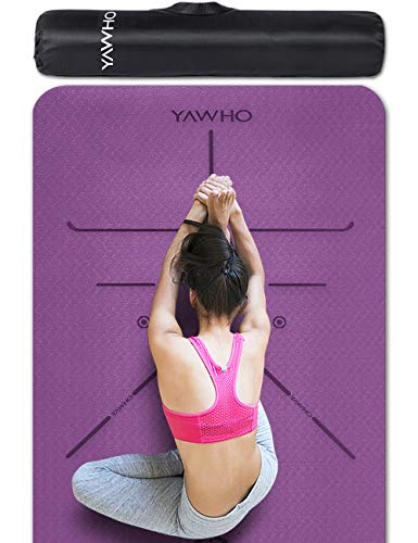 YAWHO Colchoneta de Yoga Esterilla Yoga Material medioambiental TPE,Modelo:183cmx66cm Espesor:6milímetros,Tapete de Deporte Grande y Antideslizante,Correas y Mochilas como Regalos (Violet)