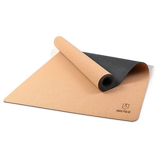 High Pulse® Esterilla de Yoga de Corcho (185 x 66) + cinturón de Transporte - Esterilla Antideslizante para Yoga, Pilates y Fitness – 100% sostenible