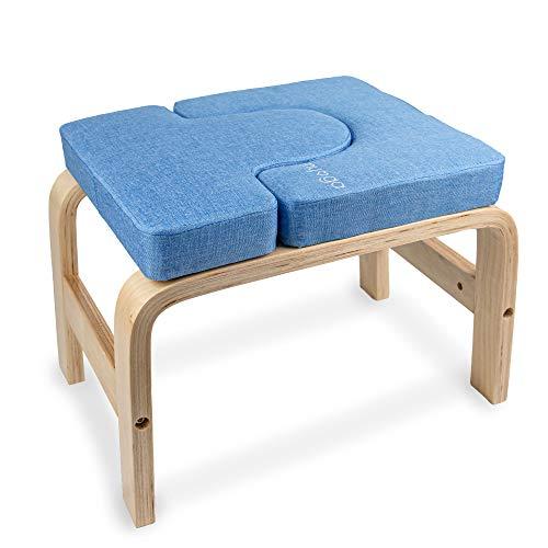 Myga RY1056 Taburete de yoga para la cabeza – Banco deportes de yoga, banco de inversión – Ayuda para yoga, ejercicio, Azul