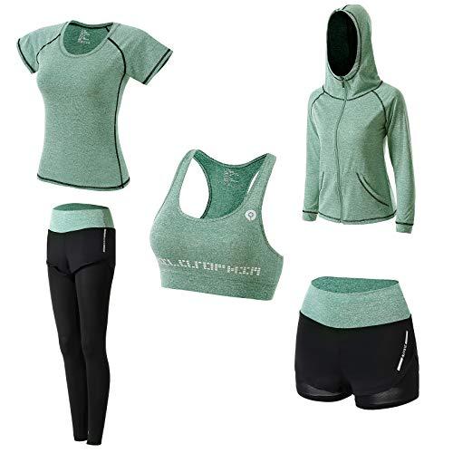 Conjunto Yoga 5 Piezas Conjuntos Deportivos para Mujer Yoga Fitness Deporte Chándales Ropa Deportiva Mujer Ropa de Correr Conjunto de Gimnasio Ejercicio Carrera Entrenamiento Transpirable Cómodo