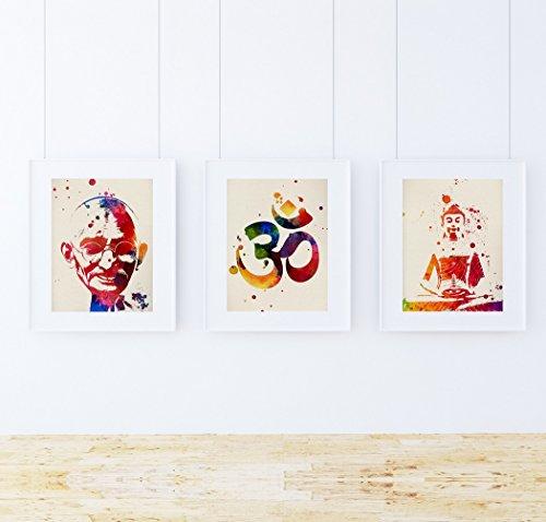PACK de láminas para enmarcar MEDITACION. Posters estilo acuarela con imágenes de la India. Decoración de hogar. Láminas para enmarcar. Papel 250 gramos alta calidad