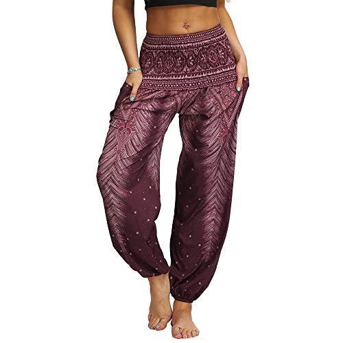 Nuofengkudu Mujer Hippies Pantalones Harem Tailandeses Boho Estampados Bolsillos Cintura Alta Baggy Yoga Pants Verano Playa Fiesta (Marrón B,Talla única)