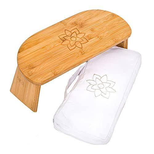 Mindful Modern Banco de meditación plegable con bisagras magnéticas de bloqueo, taburete de madera Seiza para postura de meditación zen – Bolsa de transporte portátil de viaje – Taburete ergonómico de bambú para yoga