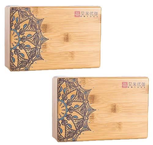 HHH Agravamiento de Bloques de Yoga de Madera Maciza 2 Yoga Brick para PC Mejora el Equilibrio y la Flexibilidad Yoga Block de 1200 g con Múltiples Patrones,Half
