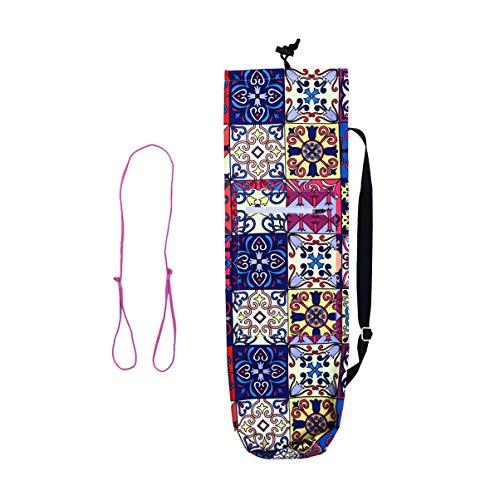 LIOOBO Bolsa de Esterilla de Yoga Carvas Impresa con Cordón Ejercicio de Yoga Esterilla Bolsa de Transporte Bolsa de Hombro con Honda de Esterilla de Yoga para Mujeres Hombres Estilo 1