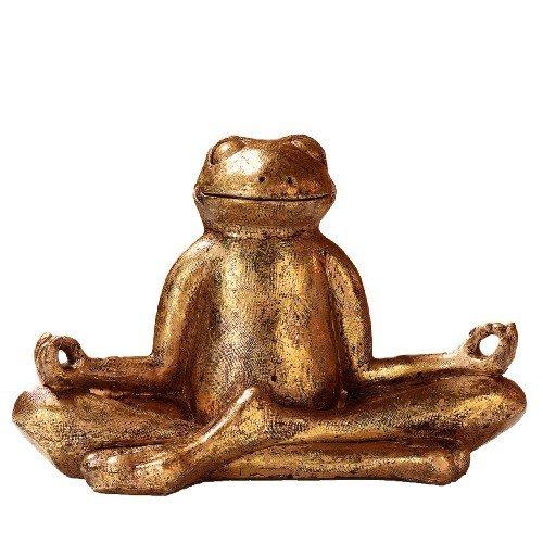 Pajoma 48410 - Figura de Rana en posición de Yoga mundra, Resina, Altura 23 cm.