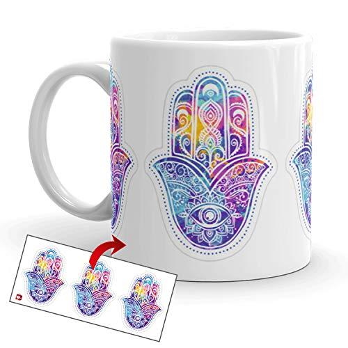 Kembilove Taza de café Ojo Hamsa – Tazas de la Mano de Fátima Mandala Talismán – Tazas de Desayuno Espirituales – Tazas Originales para Regalar, Cumpleaños