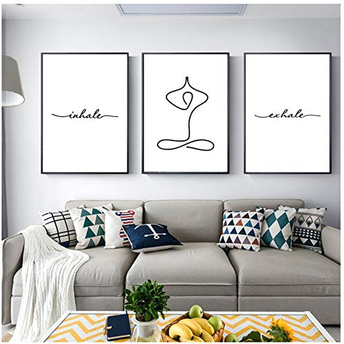 NO BRAND Pintura Moderna en Lienzo Exhale Inhale Sin Dolor Sin Ganancia Texto y Cita Poster Yoga Wall Art Prints 50x70cm (19.7'x27.6) x3Sin Marco
