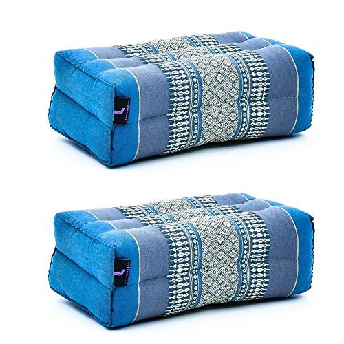 LEEWADEE Set de 2 Bloques de Yoga pequeños – Cojines para Pilates, Almohadas para el Suelo Hechas a Mano de kapok, 35 x 18 x 12 cm, Set de 2, Negro Rojo