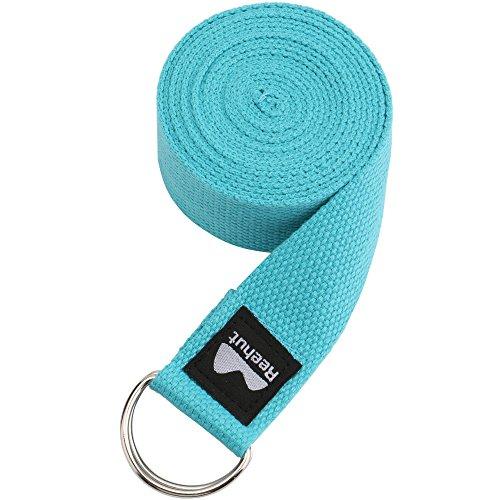 REEHUT Correa para Yoga - Cinturón con Hebilla Metal D-Anillos de Poliéster Algodón Resistente para Ejercicios de Estiramiento, Fitness, Pilates y Flexibilidad (Azul Claro,1.8m,6ft)