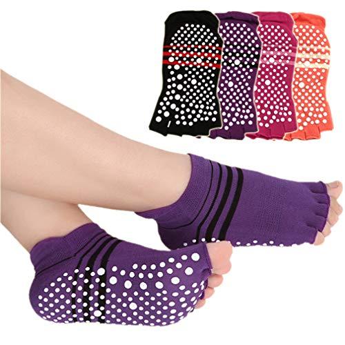 LORYLOLY 4 Pares Calcetines de Yoga Mujere, Calcetín Antideslizantes Algodón Transpirable EU35-40, para Yoga Pilates Ballet Barre Fitness Danza Trampolín