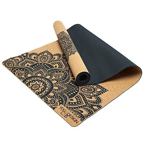 Yoga Design Lab | La Esterilla de Yoga de Corcho | Eco Lujo | Ideal para Hot Yoga, Bikram, Ashtanga, Entrenamientos con Sudor | Calidad de Estudio | ¡Incluye Correa de Transporte! (Mandala)