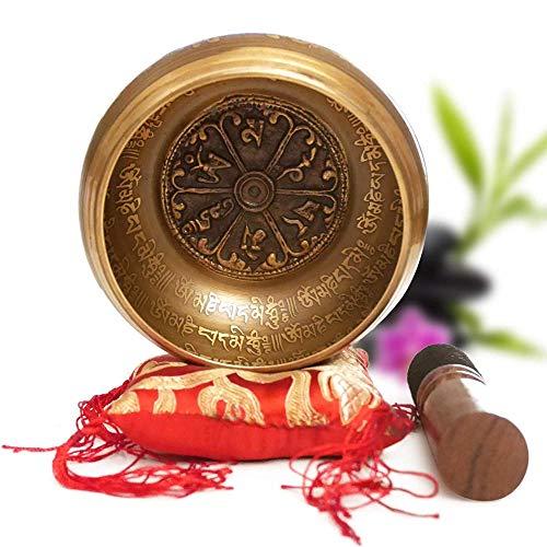 Cuenco Tibetano Hecho a Mano en Nepal Ø11.43cm – Cojín, Mazo de Madera, Caja Lokta [Garantía Satisfacción 30 Días]