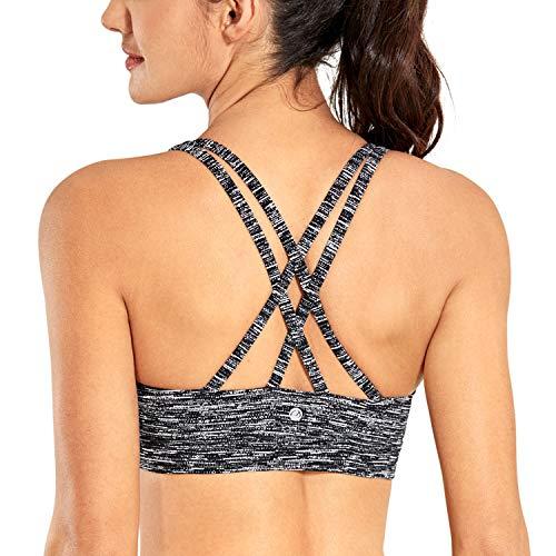 CRZ YOGA - Sujetador Deportivo Yoga Cruzados Almohadillas Extraíbles para Mujer Raya Blanco y Negro M