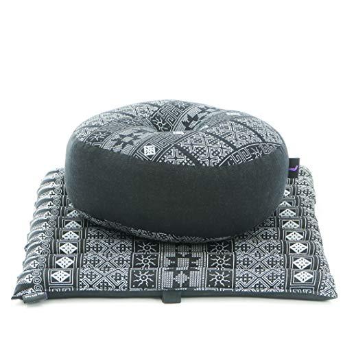 Leewadee Set de meditación Mini – Cojín de Yoga Zafu y colchoneta de meditación Zabuton, Asiento tailandés de kapok ecológico, Set de 2, Negro