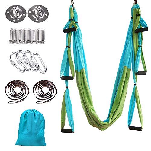 MelkTemn Yoga Aéreo Hamaca de Yoga/Yoga Aéreo/Yoga Trapecio,Tafetán de Nailon Antigravedad Swing Sling Inversión para Colgarse y Aliviar el Dolor de Espalda, para Gimnasio, hogar (Azul&Verde)
