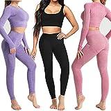 Conjunto Yoga 3 Piezas Ropa Fitness , Pantalones De Yoga Súper Elásticos Sin Costuras+Bralette Para Mujer+Camiseta Deportiva De Manga Larga Sin Costuras Mujer Azul L