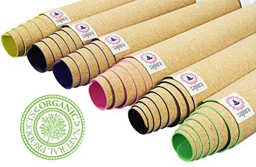 SAPURA Esterilla Yoga Caucho Natural ✓ Estera de Corcho ✓ Deslizamiento de garantía ✓ Agarre ecológicamente ✓ Antideslizante ✓ Yoga Mat 3mm