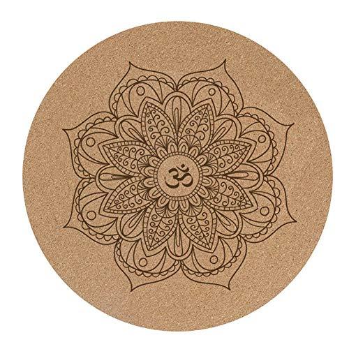 Teekit Esterilla de yoga pequeña redonda de goma de corcho de 60 x 60 cm x 3 mm antideslizante para yoga y meditación, almohadilla de pilates para el hogar al aire libre
