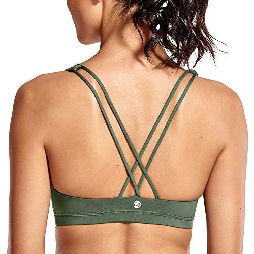 CRZ YOGA - Sujetador Deportivo Yoga Cruzados Espalda Sin Aros para Mujer Selva Verde XS