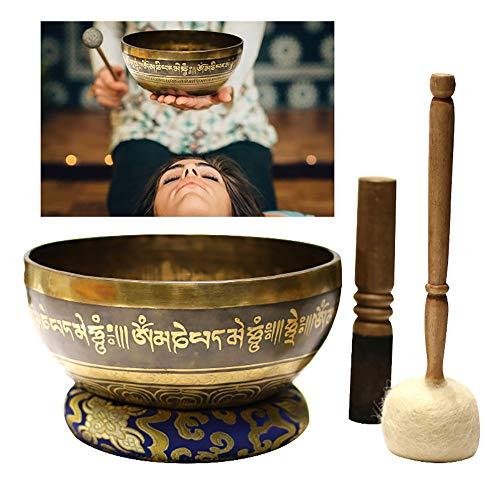 Silent Mind, Tibetan Singing Bowl Set, Promueve La Paz, La RelajacióN, El EstréS Y El Alivio De La Ansiedad, para Yoga, MeditacióN, CuracióN De Chakras, 2 Piezas,22cm