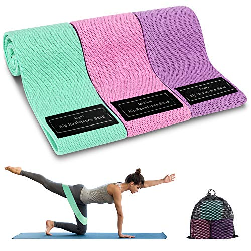 Bandas Elasticas Musculacion, 3 Piezas Bandas Elásticas Fitness con 3 Niveles para Piernas/Glúteos/Muslos, Cadera Ancha Antideslizante Bandas Resistencia para Yoga,Pilates,Crossfit,Hogar,Gym