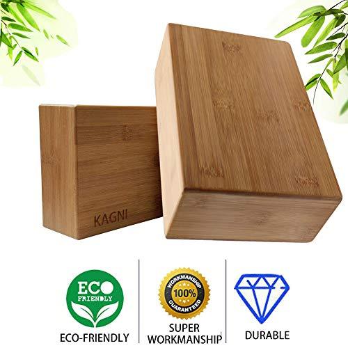 Kagni Bloques de Yoga de Bambú de Alta Densidad 2 Piezas, Ladrillo de Yoga de Madera Ecológico 100% Natural para Yoga Pilates Ejercicio