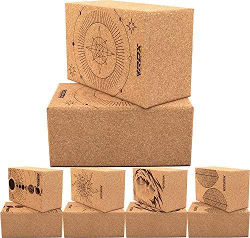 RDX Bloque de Yoga de Corcho Set, Ladrillo Natural Antideslizante para Fuerza Flexibilidad, Equilibrio Corporal, Superficie de Fácil Agarre para Estabilidad, Pilates, Ejercicio Físico, Entrenamiento