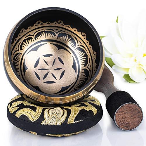 Silent Mind ~ Juego De Cuencos Tibetanos ~ Diseño Poder y Fuerza ~ Con Mazo De Superficie Doble Y Cojín De Seda ~ Promueve La Paz, La Curación De Chakras Y La Atención Plena ~ Un Regalo Exquisito